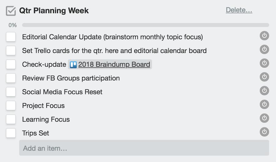 Qtr. Planning Week Checklist